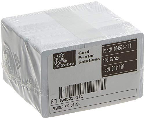 Zebra 104523-111T - Tarjetas de identificación (cloruro de polivinilo, 30 mm, 0,76 mm, 100 unidades), color blanco