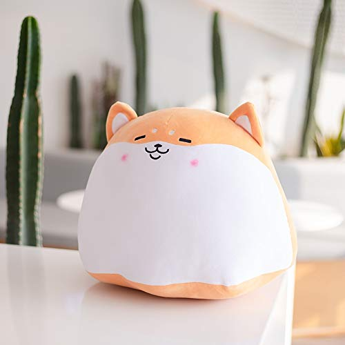 MEKTSA 30-60cm Cute Fat Round Pudding Shiba inu Dog Plush Dog Pillow Grey Husky Hug Plushie Cojín de decoración de Oficina Regalo de cumpleaños para niño Presente 55X60cm Shibainu
