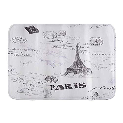 CONICIXI Alfombra de Baño Paris White Antideslizante Polyester Súper Suave Absorbente Tapete de Piso para Ducha,Cocina,Baño