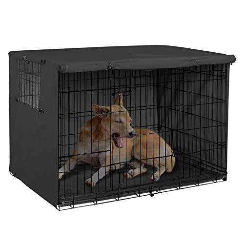 Explore Land 36 inches Dog Crate Cover - Durable Polyester Pet Kennel Cover Universal Fit for Wire Dog Crate (Black)