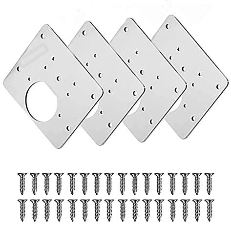 Scharnier-Reparaturplatte, Küchenscharnier-Reparaturplatten, Scharnier-Reparatur-Set für Schranktüren, Edelstahl, 8 x 9 cm, 4 Stück