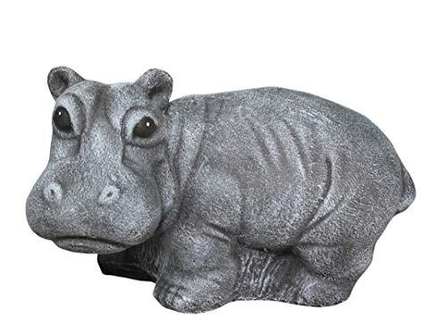 Steinfigur Nilpferd Figur in Schiefergrau, Deko, Garten, Steinguss