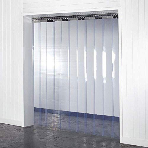 "Acepunch Clear PVC Smooth Plastic Strip Door Curtain 4x7 ft. (48x84"") Commercial Walk in Freezers Warehouse Clean Rooms Heavy Duty Vinyl AP1173"