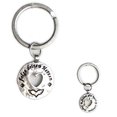 Schlüsselanhänger am Ring versilbert, Folge deinen Herzen in schönen Organzabeutel. Schlüsselring Schlüsselbund