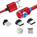 Kyerivs Cable USB Magnético con LED, Multi 3 en 1 Cable Magnetic de Carga Cargador iman con Adaptador Micro L USB Tipo C para Phone (1M/3.3ft, 2-Rojo/Red)