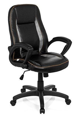 hjh OFFICE 621866 chaise de bureau gaming, fauteuil gamer VINTAGE noir/gris au design rétro / aspect vintage en simili-cuir souple avec accoudoirs, dossier inclinable, réglable en hauteur