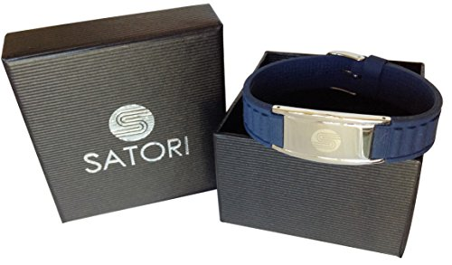 Satori Titanium Magnetic Silicone Power Energy Bracelet (Navy Blue), Stylish Therapy Bracelet - Assorted Colors - Unique Gift