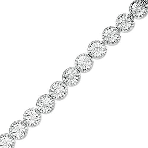 SLV Pulsera de tenis de corte redondo de 2.00 quilates T.W. D/VVS1 con diamantes para ella, regalo en plata 925 chapada en oro blanco de 14 quilates