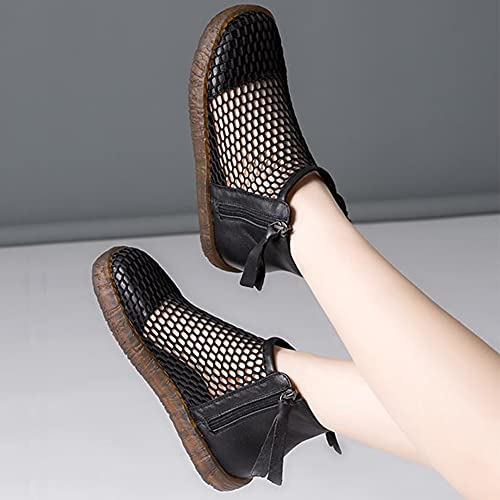 Sandalias de Mujer de Verano Cómodo de Cuero de Malla Plana Transpirable Zapatos de Señora Deportivos de Moda Suaves y Cómodos Botines