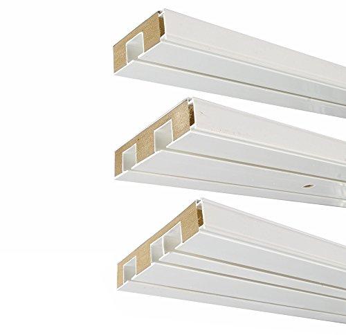 way2way | 180cm /2-läufig | Gardinenschiene Vorhangschiene - Kunststoff mit HOLZKERN (MDF)