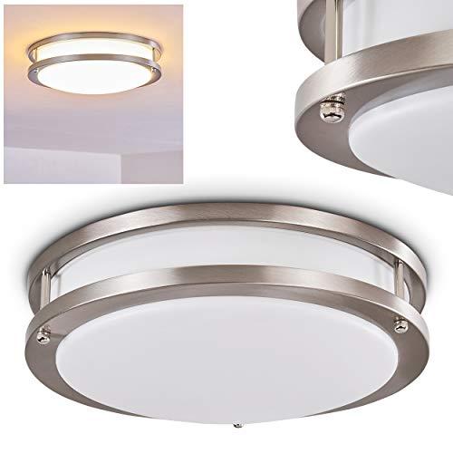 LED Deckenleuchte Sora, runde Deckenlampe aus Metall in Nickel-matt, 2-stöckig, 18 Watt, 1380 Lumen, Lichtfarbe 3000 Kelvin (warmweiß), IP 44, auch für das Badezimmer geeignet