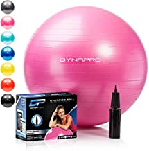 DYNAPRO Exercise Ball – Extra Thick Eco-Friendly & Anti-Burst Material Supports Over 2200lbs – Stability Ball for Home, Gym, Chair, Birthing Ball (Pink, 55 Centimeters)