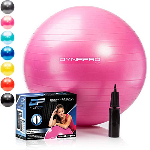 DYNAPRO Exercise Ball - 2,000 lbs Stability Ball - Professional Grade - Anti Burst Exercise Equipment for Home, Balance, Gym, Core Strength, Yoga, Fitness, Desk Chairs (Pink, 65 Centimeters)