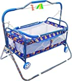 baba ji enterprises Mosquito Net Jhulla/Cradle with Swing for New Born Baby 1-2 Years (Blue)