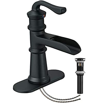 Bathroom Faucet Black Matte Waterfall Single Hole Vanity With Pop Up Drain Assembly Bath Sink Farmhouse One Handle Mixer Tap Deck Mount Waterline Lead-Free by Homevacious