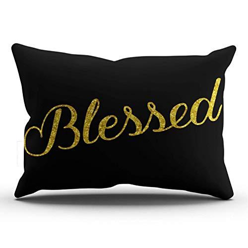 gong Blessed Gold Faux Glitter Lentejuelas metálicas Lumbar Negro Vintage Decoración Decorativa para el hogar Rectángulo Funda de Almohada i