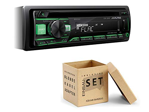 Alpine CDE-201R 1-DIN autoradio CD USB AUX voor VW Golf 6 2003-2013, Radio+Einbauset inkl. Canbusadapter, Piano Black