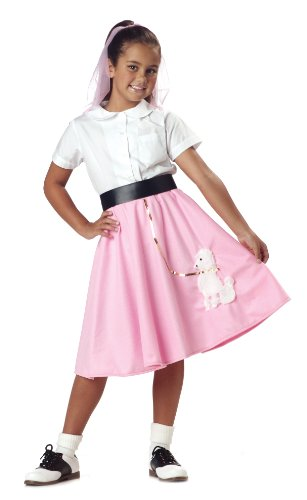 Poodle Skirt Girl's Costume, Large, One Color