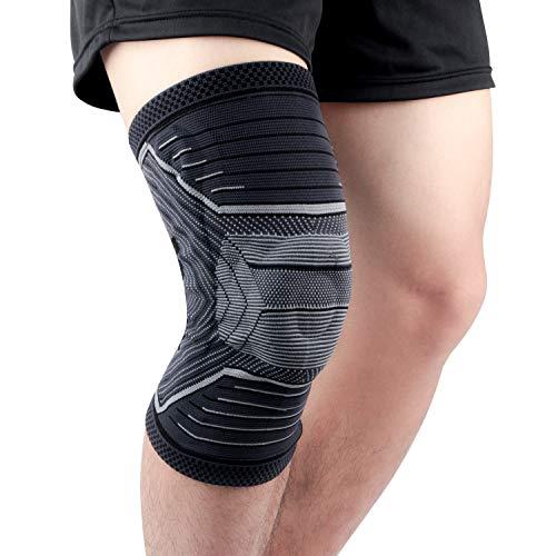 Kniebandage, verbesserte Kniebandage mit Silikon-Pad und seitlichen Stabilisatoren, verbesserte Kompression und Stabilisierung, Kniebandage für Sports, Linderung von Arthritis, Meniskus Genesung