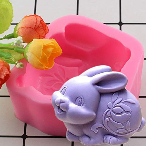 YUXIAN Mold Decoration Crafts Diy Reusable, Fondant, Cake,3D Easter Bunny Silicone Molds Rabbit Candle Resin Clay Mold Chocolate Candy Mold Fondant Cake Decorating Tools