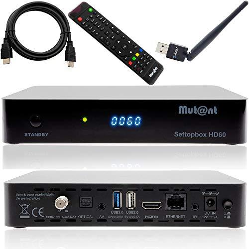 Anadol Mutant HD60 4K UHD 2160p E2 Linux 1xDVB-S2X Sat Receiver inkl WiFi Stick [vorprogrammiert für Astra & Hotbird]