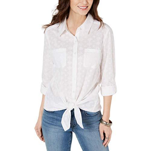 Style & Co Button-Down Tie-Hem Front Cotton Top, Bright White Medium