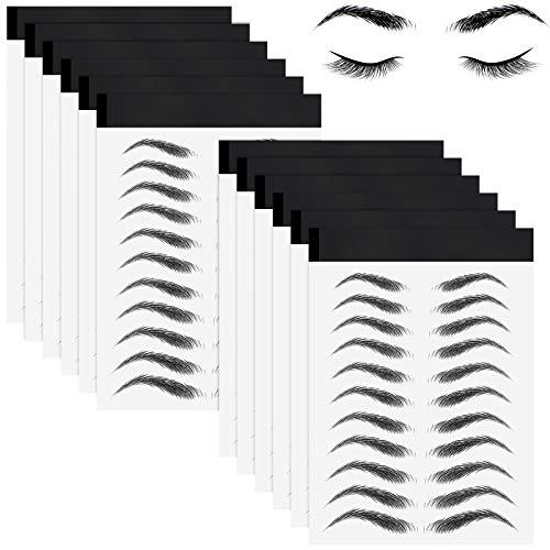 12 Sheets 4D Hair-Like Eyebrow Tattoos Stickers Waterproof Eyebrow...