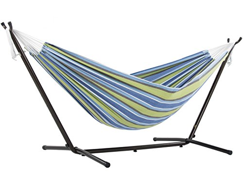 Vivere Double Cotton Hammock with Space Saving Steel Stand, Oasis (450 lb Capacity - Premium Carry...