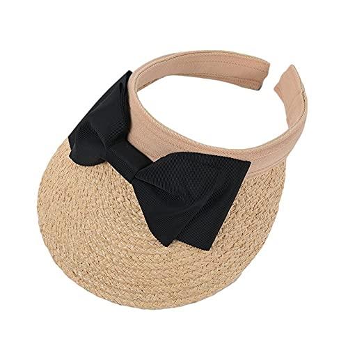 SXLYKJ XCBHJXD Mujeres Paja Sol de Visera Sombrero Primavera Y Verano Bowknot Rafia Vacío Top Femenino Dulce Sol Dulce Seaside Vacation Beach 56-58cm (Color : Black)