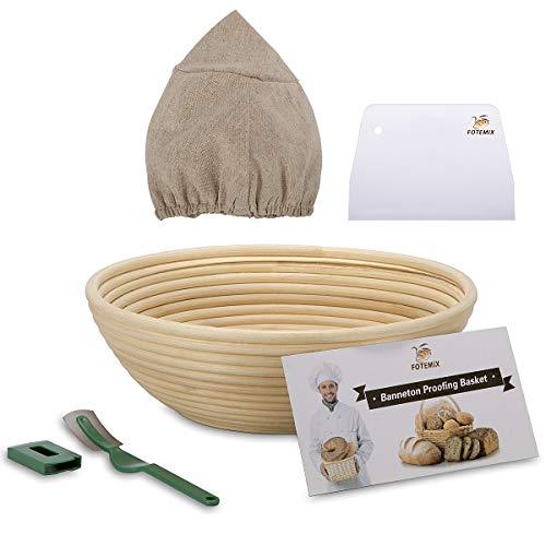 Brotgärkörbchen, 25 cm, Banneton-Proofing Basket + Tucheinlage + Teigschaber + Brotlatme + Starter-Rezept-Set – Sauerteigkorb Set für professionelle und häusliche Bäcker, Brotbacken