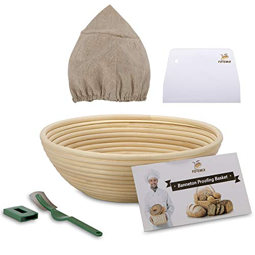 Round Bread Proofing Basket 10 inch Large Banneton Proving Basket Natural Rattan Sourdough Proving Basket for Professional Home Bakers (with Cloth Liner, Dough Scraper, Bread Lame, Starter Recipe Set)