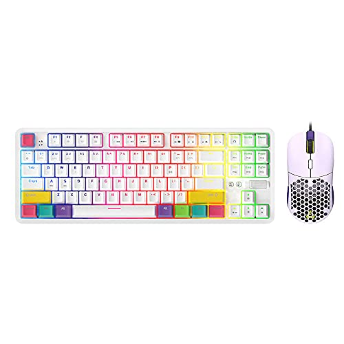 EPOMAKER Ajazz K870T 87 Keys Bluetooth Wired/Wireless Mechanical Keyboard with F15 RGB Wired Gaming Mouse(Ajazz Blue Switch)