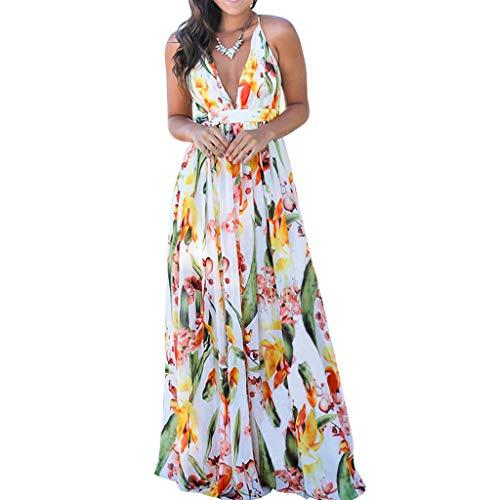 Auifor Las Vacaciones de Verano de la Honda con Cuello en V Vestido de Flores Vestido Ajustado Vestido Largo sin Mangas Elegante del Partido de Coctel de la Falda del Vestido de la Mujer