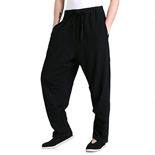 ZooBoo Men's Martial Arts Pants Kung Fu Linen Trousers Tang Suit Pants (S, Black)