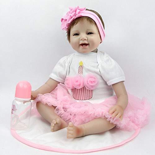 ZIYIUI Handmade Lifelike 55 cm 22 inch Reborn Baby Dolls Fille Réaliste Souple en Silicone Réaliste Bébés Cadeau d'anniversaire pour Enfants