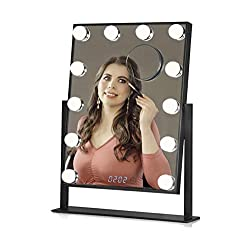 Estala Makeup Vanity Mirror with Lights - Black Frame - Hollywood Vanity Mirror & Lighted Makeup Table Set with Smart Touch Dimmable & Adjustable LED Lights & Digital Clock - Free eBook
