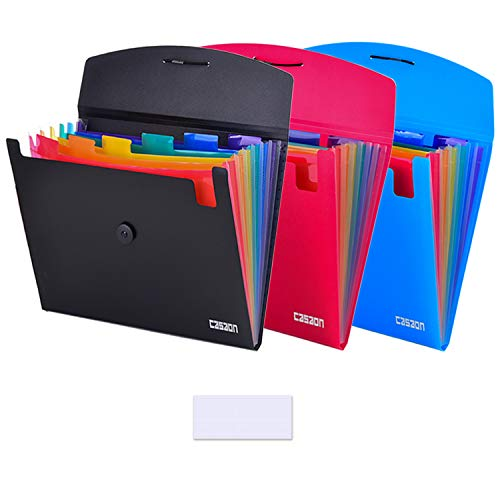 7-Pocket Expanding File 3pcs, Plastic Expandable File Folder - Black&Blue&Red