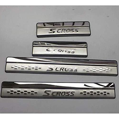 NADAENTA 4 Pieza Umbral De Listones para Su-zuki Sx4 S-Cross 2014-2019, Acero Inoxidable Scuff Plate Guard Pedal Sticker Accesorios Kick Plates Door Sill