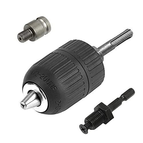 ASNOMY Convertidor de portabrocas sin llave 2-13 mm, rosca 1/2-20 UNF, adaptador de cambio rápido con vástago SDS-Plus, vástago hexagonal de 6,3 mm, adaptador hembra cuadrado de 12,7 mm