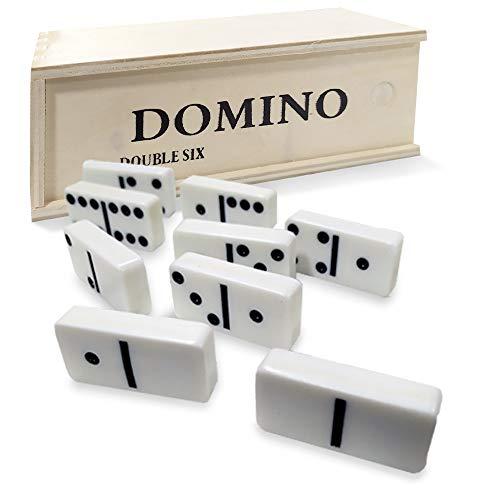 EUROXANTY Dominó Brettspiel | Traditionelles Spiel | Entwicklung kognitiver Fähigkeiten | Holzkoffer | weißes Design | Set mit 28 Karteikarten