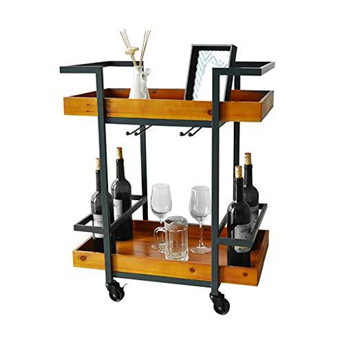 Tables basses Chariot à thé Chariot de Repas Maison Chariot à vin Mobile en Bois Massif Cuisine Multifonction (Color : Brown, Size : 60 * 35 * 75cm)