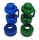 2 tapones de 25 mm de diámetro y 2 centros de tubo, azul/verde