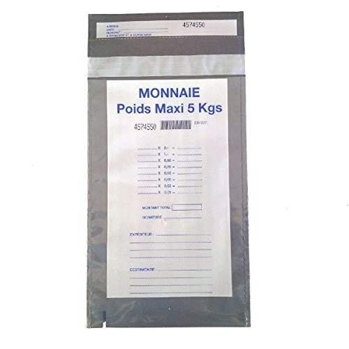 Monétique PSP180 Lot de 100 Enveloppes de sécurité transparente à usage unique et fermeture autoadhésive à colle permanente pour le transport des pièces 180 x 300 mm, sacs scellés