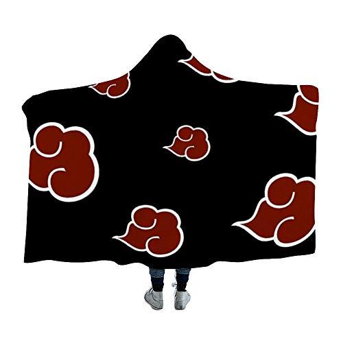 MEW Anime Naruto Hooded Blanket,Naruto Akatsuki Logo (7),Fleece Flannel Wearable Super Soft Warm Throw Blanket,for Winter Sofa School Home Travel Picnic Carrying (Adults,Kids,39x59 inch)