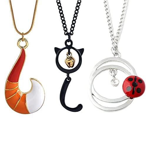 Yeeyf 3 collares elegantes, collares de anime para niña, collares con colgante de anime, collares de aleación de moda, regalo exquisito y único.