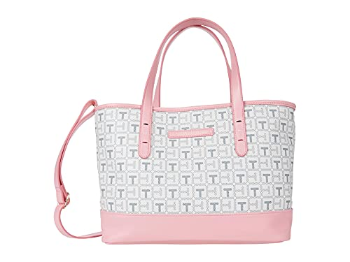 Tommy Hilfiger Monogram II - Convertible Shopper with Pouch - TH Coated PVC Grey/White Pink Icing One Size