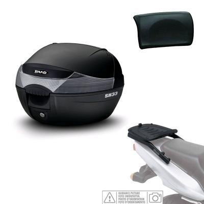 KIT-SHAD-1087 - Kit fijacion y Maleta baul Trasero + Respaldo Pasajero Regalo SH33 Compatible con Yamaha Majesty 400 2004-2012