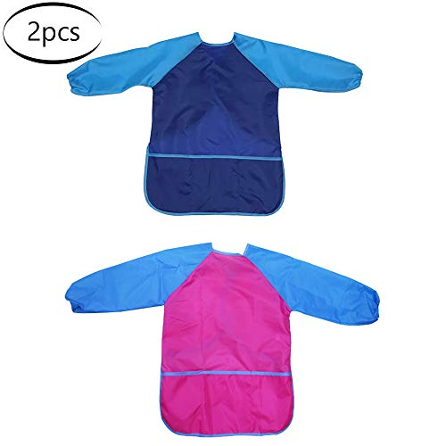 2 Kindermalschürze wasserdichter Kindermaloverall für Mädchen/Jungen von 5 bis 8 Jahren Bastelschürze für Kinder mit Ärmeln und 2 Taschen zum Malen Kochen Essen für Laboraktivitäten usw(blau/rosarot)