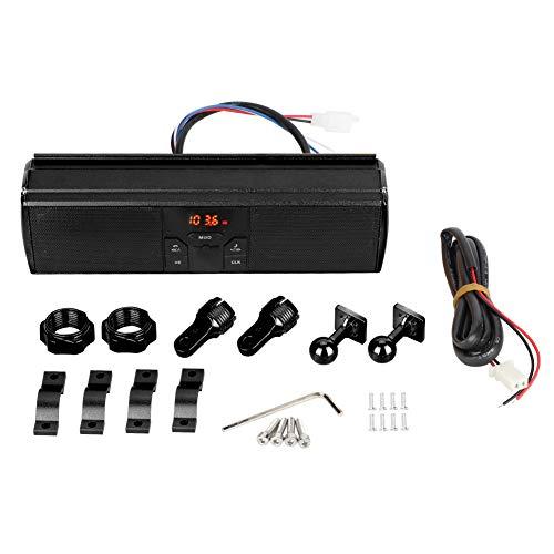 Qiilu Sistema de Audio de la Barra de la manija de modificación de la Motocicleta, reproducción de USB Sistema de Sonido Antideslizante a Prueba de Agua Altavoz estéreo de Moto(Negro)