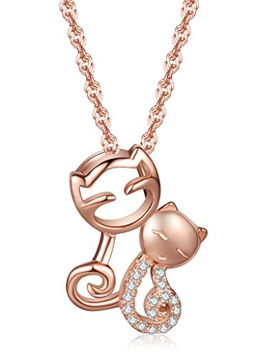 Unendlich U Elegant Doppel Katzen Kätzchen Damen Halskette 925 Sterling Silber Zirkonia Anhänger Kettenanhänger, Rosegold